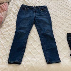 Loft modern skinny high rise jeans dark blue wash